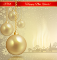 Golden ball with red ribbon vector image