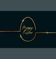 golden line style easter day egg background vector image vector image