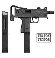 graphic silhouette uzi submachine gun with ammo vector image vector image