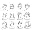 hairstyle silhouette set woman girl female hair vector image vector image