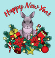 happy new yaer pattern with rabbit vector image