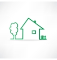house with a fence and a tree vector image vector image