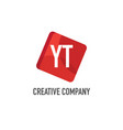 initial letter yt logo template design vector image vector image