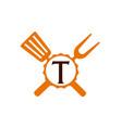 logo restaurant letter t vector image vector image