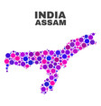 mosaic assam state map of spheric items vector image vector image