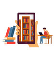 online library with e-books hand holding a mobile vector image vector image