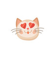 pleased cat in good mood isolate pink kitten emoji vector image vector image
