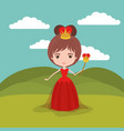 queen fantastic character with crown and scepter vector image vector image