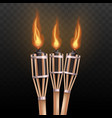 realistic burning tiki torch set isolated on dark vector image vector image