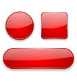 red glass buttons 3d icons vector image vector image