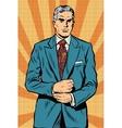 Retro businessman boss gray hair vector image vector image