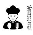 Sad Cook Icon With Air Drone Tools Bonus vector image vector image