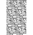 seamless black and white pattern with doodle vector image vector image
