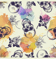seamless pattern with skulls and rose flowers vector image vector image