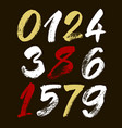 Set of calligraphic acrylic or ink numbers