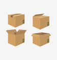 set of four cardboard boxes open and closed box vector image vector image