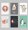 set of holiday postcards with santa claus and vector image vector image