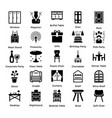 set of interior and decoration glyph icons 3 vector image