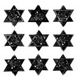 set of the stars of david created in grunge vector image vector image