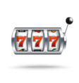 silver slot machine with lucky three sevens vector image
