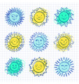 sketch sun kids drawing hand drawn sunshine icons vector image