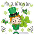 st patricks greeting card with leprechaun vector image