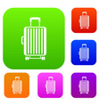 suitcase on wheels set collection vector image vector image