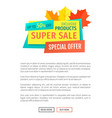 super sale with special offer for autumn season vector image vector image