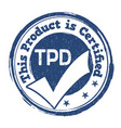 tdp sign or stamp vector image vector image