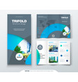 Tri fold brochure design with circle corporate