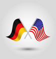 two crossed german and american flags vector image vector image