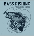 Vintage bass fishing emblems labels vector image