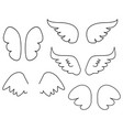 wings collection set with angel or bird wing icon vector image vector image