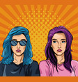 womens pop art cartoons vector image vector image