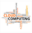 word cloud cloud computing vector image vector image