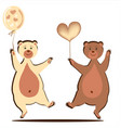 bear cubs with a heart and a ball vector image