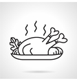 Black line icon for baked chicken vector image