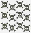Cartoon skull with bones icon set vector image