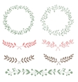 Nature set brunches and wreath hand drawn vector image