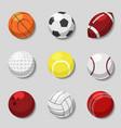 Sports balls cartoon ball set for soccer vector image