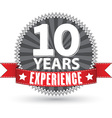 10 years experience retro label with red ribbon vector image