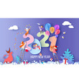 2021 new year design card with kids on blue winter vector image
