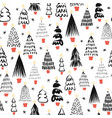 abstract doodle christmas trees black on white vector image vector image