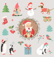 big holiday set with funny characters and symbols vector image vector image