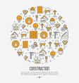building construction concept in circle vector image vector image