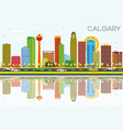 calgary skyline with color buildings blue sky vector image vector image
