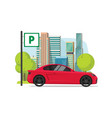 car parked near city flat vector image vector image