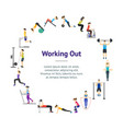 cartoon girl and boy workout exercise in gym vector image vector image