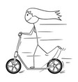 cartoon of woman or girl riding the scooter vector image