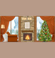 christmas interior with mountain view vector image vector image